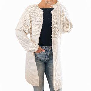 Belle France Pom Pom Wool Open Knit Cardigan LG